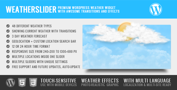 WeatherSlider - Premium WordPress Weather Widget